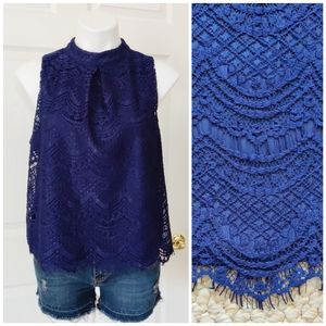 Haute Monde lace overlay dressy sleeveless top XL